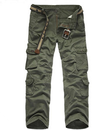рабочие брюки оптовых-Mens Autumn Pants Midweight Cargo Pants Casual Fleece Pockets Fur Trouser Plus Size Fashion Loose Baggy Joger Worker Male