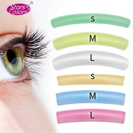 curl eyelash perm Canada - 10 Bags (60 Pairs) Colorful Flat&curl Eyelash Patch Reusable Silicone Perm Rods Lashes Lift Stickers Cilia Beauty Makeup J190710