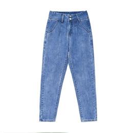 Double Xl Size Jeans NZ - Plus Size Loose High Waist Harem Pants 2019 New Spring Autumn Slim Double Buckle Casual Jeans Woman Zipper Fly Nine Women Jeans