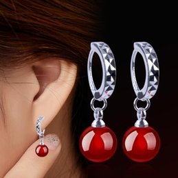 Silver Black Red Australia - Explosive Earrings Female Natural Black and Red agate Korean Edition Earrings Plated with Silver Ear Jewelry W1109