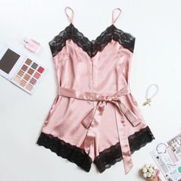 Wholesale holiday lingerie online – Lingerie Lace Trim Satin Bodysuit Elegant Holiday Casual Romper Mini Belt Playsuit Women s Pajamas Y200425