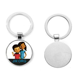 image alloys NZ - Best Life ever Jw Org Keychain Jehovah's Witnesses Series Photo Glass Cabochon Car Bag Keyring Creative Art Image Simple Round Key Ring