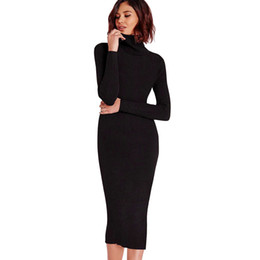 7afb28463d Gamiss Women Autumn Winter Sweater Knitted Dresses Slim Elastic Turtleneck Long  Sleeve Sexy Lady Bodycon Robe Dresses Vestidos C19041702