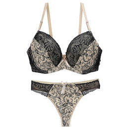 69396634157 YANDW Sexy B C D DD E Cup Women Bra Set Lace Underwear Panty Set Solid 6  Color Push Up Bra Brief Big Size 34 36 38 40 42