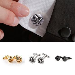 $enCountryForm.capitalKeyWord UK - Fashion Original French Style Knot Design Men Cufflinks Gold Silver Black Party Suit Shirt Cuff Buttons Male Personalized Metal