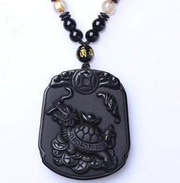 $enCountryForm.capitalKeyWord Australia - Fashion Unique Black Natural Obsidian Carved Turtle Lucky Blessing Pendant Free Necklace Fine Crystal Jewelry Amulet