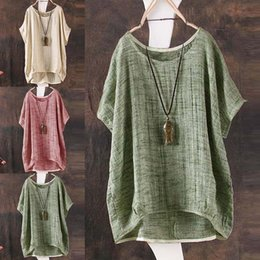 aec846f9eec Plus Size Vintage Womens Ladies Casual Baggy Cotton Linen T-Shirt Tops  Blouse UK Size 6 - 24