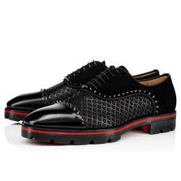 Wholesale Leisure Gentleman Leather Flats Shoes Red Bottom Oxfords Loafers Luxurious Moccasin Tire Rubber Soles Genuine Leather With Buckle Super Shoe