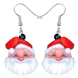 Jewelry teens online shopping - Acrylic Christmas Sweet Santa Claus Earrings Drop Dangle Costumes Family Gift Jewelry For Women Girls Teens Charms Bijoux