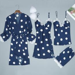 2e9267e2145 2019 Women Satin Silk Night Dress Kimono Bathrobe Set Sexy Cute Polka Dot Lingerie  Babydoll Nightwear Nightgown Sleepwear pijama