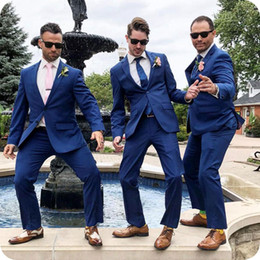 $enCountryForm.capitalKeyWord Australia - Royal Blue Wedding Suits for Men Groom Tuxedo Notched Lapel Groomsmen Outfits 2Piece Slim Fit Terno Masculino Costume Homme trajes de hombre