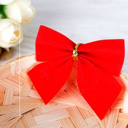red black gold party decorations NZ - 12pcs Red Gold Silver Christmas Bows Christmas Tree Ornament For Xmas Tree Gifts Christmas DIY Party Decorations