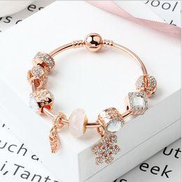 $enCountryForm.capitalKeyWord Australia - 2019 Fashion Rose Gold Snowflake Angel Wings Pendant Bangle Charms Bracelet European Charm Beads Ball Clasp 925 Sterling Bracelet Necklace