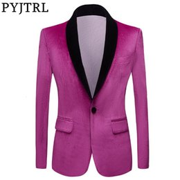 winter shiny jacket UK - PYJTRL Men Autumn Winter Light Purple Shiny Velvet Blazers Shawl Lapel Party Prom Dress Suit Jacket Wedding Groom Stage Clothing