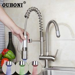 $enCountryForm.capitalKeyWord Australia - OUBONI Pull Up Down Kitchen Faucet Brushed Nickel LED Light Swivel Sink Basin Brass Torneira Cozinha Tap Mixer Faucets