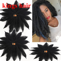 kinky synthetic hair Canada - 8 Inch Marley Twist Braiding Hair Afro Kinky Marley Crochet Braids Brown Black Blue Synthetic Bulk Hair Extensions 14 strands pack