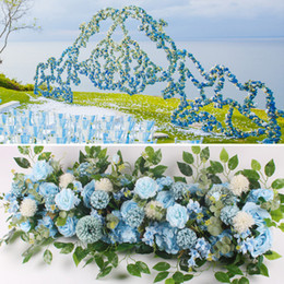 Rose Road wedding online shopping - 50cm Artificial Flower Row Wedding Decor Acanthosphere Rose Flower Row Silk Road Cited Flowers Arched DIY Background Flower Wall