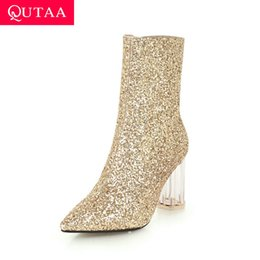 $enCountryForm.capitalKeyWord Australia - QUTAA 2020 Transparent Square Heel Zipper Ankle Boots Sequins PU Leather Sexy Pointed Toe Autumn Winter Women Shoes Size 34-43