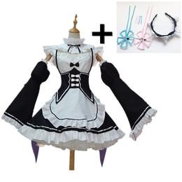 Maids outfits online shopping - Re Zero Kara Hajimeru Isekai Seikatsu Ramu RAM Remu REM Maid Apron Dress Women Girls Outfit Uniform Anime Cosplay Costumes Plus Size