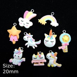 flat earrings diy UK - ashion Jewelry Charms Kawaii Unicorn biscuit Charms Pendants Flat back Resin Cabochon for DIY necklace earring keyring Jewelry Making Ac...