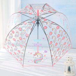 Discount kids cartoon umbrella - Unicorn Umbrella Cute Children Long Handle Transparent Umbrella Cartoon Auto Open Close Folding Waterproof Kids Travel U