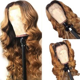 long dark wavy hair NZ - Ombre 1B #27 Wavy Full Lace Wig Pre plucked 130% Density Lace Front Wig Brazilian Virgin Human Hair Wig with Dark Black Roots