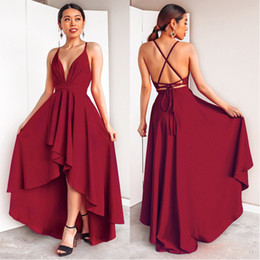 spaghetti strap low back wedding dresses NZ - Burgundy Dress For Wedding Party Elegant A Line Deep V Neck Spaghetti Strap High Low Sexy Bridesmaid Dresses With Cross Back Q190525