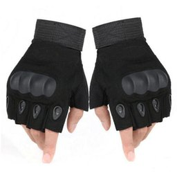 Bicycle Mittens Australia - Tactical Gloves Antiskid Outdoor Cover Finger Mittens Winter Thermal Men Fighting Leather Black Male Bicycle Gloves