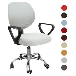 lifting chairs UK - 1PC Swivel Chair Cover Stretchable Removable Computer Office Washable Rotating Lift Cover Spandex Elastic Arm Seat Cover Cushion