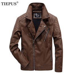 6xl motorcycle Australia - TIEPUS winter new leather jacket men's solid color PU motorcycle leather jacket men's business Plus size 5XL 6XL