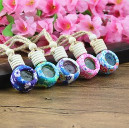 aroma essential oil bottle wholesale UK - 6ml Car Pendant Aroma Essential Oil Bottle Polymer Clay Reuse Empty Glass Perfume Bottle Car Hanging Perfume Container Lx3191