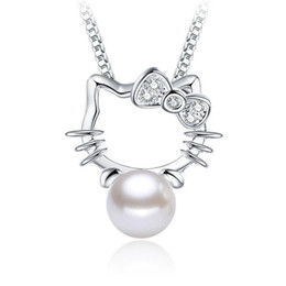 Pearl Pendant Charms Wholesale Australia - Wthout Chain unique design Kitty 925 sterling silver CZ pendant charms charms pearl Hypoallergenic jewelry gift for women