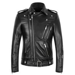$enCountryForm.capitalKeyWord Australia - Multi-zipper Men's Leather Jackets Genuine Cow Leather Slim Fit Biker Motorcycle Jackets Short Style Fashion Lapel Neck High Quality
