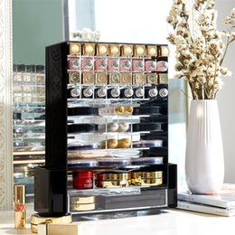 clear makeup drawers cosmetics UK - Acrylic Multifunction Makeup Organizer 360 Rotating Cosmetic Storage Boxes with Drawer Clear Black