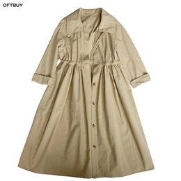 Wholesale OFTBUY spring coat trench coat for women fashion classic irregular loose Khaki long windbreaker runway korean overalls