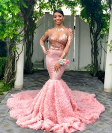 Fantastic evening dresses online shopping - Fantastic Pink Cascading Ruffles Mermaid Prom Dresses Black Girls Sexy Illusion Long Sleeves Sequined Party Gowns Evening Dress BC1052