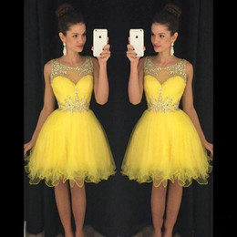 modest lavender knee length dress Australia - 2019 New Yellow Short Homecoming Dresses Sheer Neck Crystals Beads Modest Green Cheap Knee Length Prom Cocktail Party Gowns Real Images