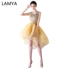 low back halter evening gown 2019 - LAMYA Gold Lace High Low Prom Dress Princess Elegant Evening Party Dresses Short Front Long Back Gown 2019 vestido de di