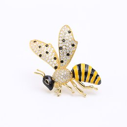 bee collar pin 2021 - 2019 popular Korean fashion new inlaid zircon pin exquisite cute drop glaze bee wasp brooch shirt collar buckle accessor