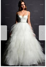 $enCountryForm.capitalKeyWord Australia - Ball Gown Spaghetti Straps Sweep Brush Train Tulle Wedding Dress95
