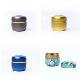 $enCountryForm.capitalKeyWord Australia - Business Trip Teas Caddy Flower Printing Tea Can Household Seal Up Small Round Cans Tinplate Packing Box More Color