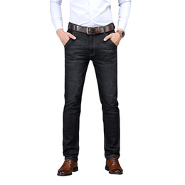 Male Clothing Styles UK - SULEE Brand 2019 Men's Jeans Straight Fit Elastic Cotton Trousers Male Jeans Pants Brand Clothes