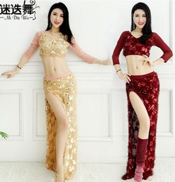 $enCountryForm.capitalKeyWord Australia - Women Belly Dance Costume Set 2pcs top+ Skirt Sexy Sequins Hip Scarf Performance Clothes Dancing Dress Clothing Bellydance Suits