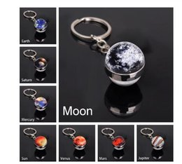 free pictures cars UK - DHL free Solar System Planet Keyring Galaxy Nebula Space Keychain Moon Earth Sun Mars Art Picture Double Side Glass Ball Car Key Chain