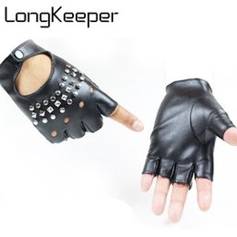 Leather Gloves For Driving Australia - LongKeeper Fashion Half Finger Driving Women Gloves PU Leather Fingerless Gloves For Women Black Mittens GL113