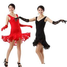 0917f3c0cba4 Women Lace Latin Dance Costume Elegant Girls Sequin Latin Tango Ballroom  Salsa Dance Dress Lady Waltz Dress with Glove 89