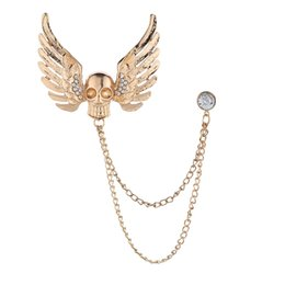 wing collar brooches Canada - Fashion Kull Wings Brooch Rhinestones Tassel Chain Collar Pin High-End Suit Shirt Lapel Pins and Brooches for Men Accessories