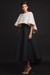 $enCountryForm.capitalKeyWord UK - Black and White Krikor Jabotian Evening Dresses Two Pieces Floor Length Half Sleeves Prom Dresses With Jacket Formal Party Dresses Real Imag