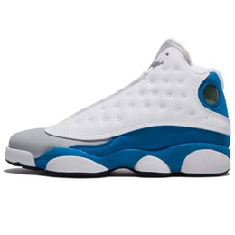 man italy shoes UK - Mens AJ13 basketball shoes retro jumpman 13 Air flight Xiii AJ 13S HOF Hologram Hyper ITALY Blue sneakers boots with original box size 7-12