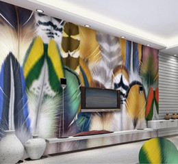 Colorful Bird Paintings Australia - mural painting photos Fashion colorful bird feathers living room TV background wallpaper wallpaper